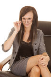 Business woman glasses hold sit Stock Photos