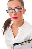 Business woman with glasses holding clipboard Stock Photos