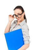 Business woman with glasses Royalty Free Stock Photos