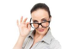 Business woman with glasses Royalty Free Stock Images