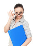 Business woman with glasses Royalty Free Stock Photography