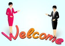 Business woman with glasses invites to enter and shows hands welcome stock illustration