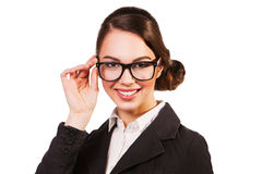 Business woman in glasses isolated on white. Royalty Free Stock Image