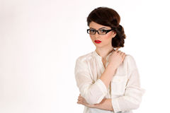 Business woman with glasses isolated on white Stock Photos