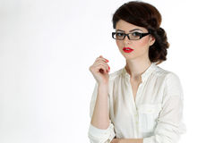 Business woman with glasses isolated on white Royalty Free Stock Image