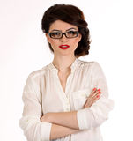 Business woman with glasses isolated on white Royalty Free Stock Photo