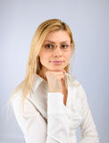 Business woman in glasses. On a light background Stock Photo