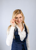 Business woman in glasses. On a light background Royalty Free Stock Photography