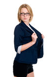 Business woman with glasses looks aside Stock Photos