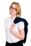 Business woman with glasses looks aside Royalty Free Stock Photos