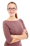Business woman in glasses looks at side Royalty Free Stock Photo