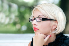 Business woman with glasses portrait Stock Images