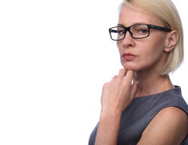 Business woman with glasses. Portrait of a business woman with glasses Stock Photo