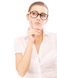Business woman in glasses reflects Royalty Free Stock Images