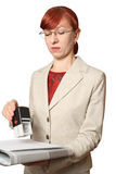 The business woman in glasses seals Stock Images