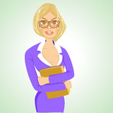 Business woman with glasses standing with folder Stock Image