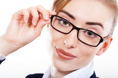Business woman in glasses sweet smiles Royalty Free Stock Photography