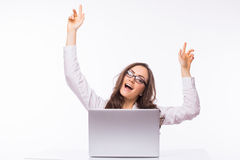 Business Woman  with glasses using laptop computer pc. Royalty Free Stock Photos