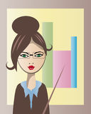 Business woman in glasses vector illustration. Vector image of lovely business woman staying near diagram Stock Photography