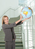 Business Woman with Globe Royalty Free Stock Photography