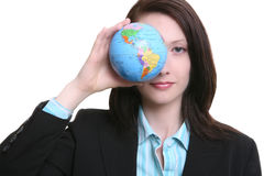 Business Woman with Globe Stock Photo