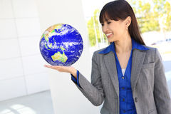 Business Woman with Globe Stock Photography