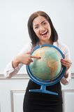 Business woman with the globe Royalty Free Stock Image