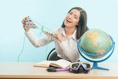 Business woman with the globe Stock Photo