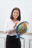 Business woman with the globe Royalty Free Stock Photo