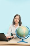 Business woman with the globe Royalty Free Stock Images