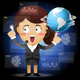 Business woman with globe working with data processing Stock Photos