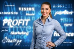Business woman with glowing words. Success business woman with glowing words, business concept stock photos