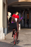 Business woman go to work in monocycle. Woman through the city with the unicycle to go to work Stock Photography
