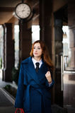 Business woman going to work. Business woman goes to work, Autumn. Concept Business fashion Royalty Free Stock Photo