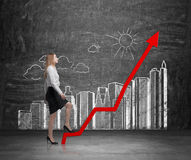 Business woman is going up. Royalty Free Stock Image