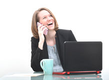 Business woman and good news phone call Stock Photography