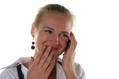 Business woman gossip. Royalty Free Stock Image