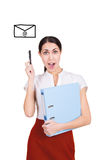 Business woman got message with new idea Royalty Free Stock Image