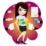 Business Woman Got Over Load. Business Woman Got Overload Job Royalty Free Stock Images