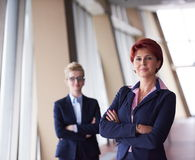 Business woman goup at modern bright office Stock Images