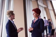 Business woman goup at modern bright office Royalty Free Stock Images