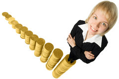 Business woman and graph. From money twelve columns progress over white background Stock Photography