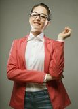 Business woman on gray background Royalty Free Stock Photos