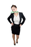 Business woman with a green arrow Stock Photography
