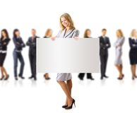 Business woman and group holding a banne. R ad, full length portrait isolated on white background Stock Image