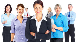 Business woman group. Young smiling business women group isolated white background Royalty Free Stock Images