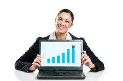 Business woman with growing chart Royalty Free Stock Photos