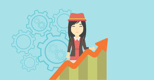 Business woman with growing chart. Stock Image