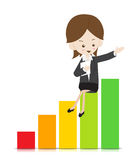 Business woman with growing graph Royalty Free Stock Photo