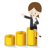 Business woman with growing Money Royalty Free Stock Photography